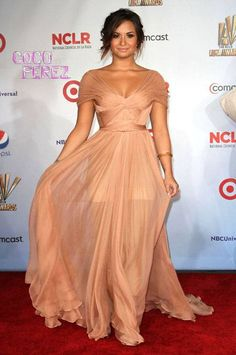 Demi Lovato. Love her dress and the hair and makeup!