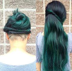 beautiful black and green  hair