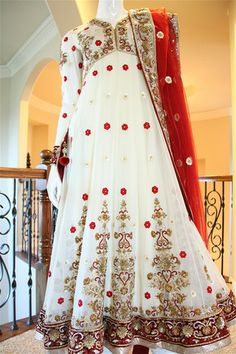 Red White Gold Wedding Anarkali @ Red paisleys. Nice for bridesmaids to complimenta red bridal lehenga.