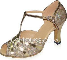 Dance Shoes - $65.20 - Patent Leather Heels Sandals Latin Dance Shoes With T-Strap (053022340) http://jjshouse.com/Patent-Leather-Heels-Sandals-Latin-Dance-Shoes-With-T-Strap-053022340-g22340