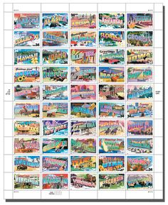 Postal stamps issued by the USPS.  34 cents each, one for each of the 50 states.