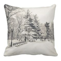 I'm dreamin go a white Christmas just like this Central Park Winter Path - New York City Pillows