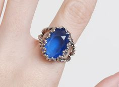 Vintage 60s 70s Blue Rhinestone Ring by twinheartsvintage on Etsy