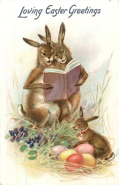 LOVING EASTER GREETINGS two rabbits hold book & sing, bunny & eggs below