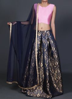 Navy Blue and Pink Brocade Lehenga