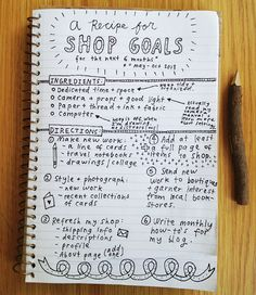 A blog/etsy 6 month 'business plan' with goals and ideas to reach them
