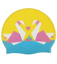 Another Valentine's Day or love-themed swim cap. Two origami swans are perfect! #swimming #swimcap