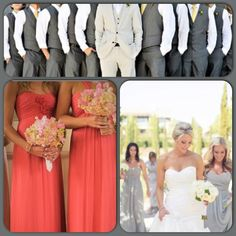 Grey and Coral Wedding | Really like the grey and coral. :)