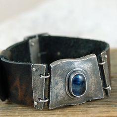 kyanit - skórzana bransoleta / mz studio / Biżuteria / Bransolety
