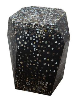 dc6f2d69466595 Twilite table - faceted cube in black resin with mother of pearl inlay Black  Side Table