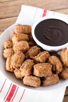 Gluten Free Vegan Churro Bites with Chocolate Sauce. Bite-size fried churros, dipped in a creamy chocolate sauce. You can't dip just one!