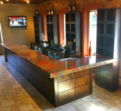 Copper Bar Top Made From Color Copper Sheets With Lacquer And Epoxy Coating.