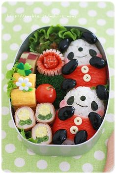 Panda Onigiri Japanese Bento Lunch (Rice, Kuromame Black Beans, Kanikama Red Surimi Stick, Nori and Cheese) Perfect lunch box Japanese Bento Box, Japanese Food Art, Cute Bento Boxes, Bento Box Lunch, Bento Food, Bento Kawaii, Bento Recipes, Bento Ideas, Little Lunch