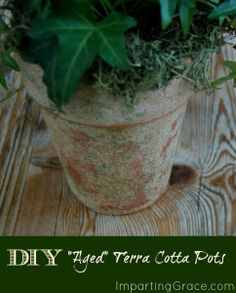 Need some pretty planters for your porch or patio?  Here's a tutorial for making your own Textured, Aged Pots.  They look great and hold up really well!