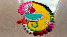 easy FESTIVAL'S Diwali rangoli designs/GANESH chathurthi rangoli by jyo. Source by shalininewatia. Easy Rangoli Designs Videos, Easy Rangoli Designs Diwali, Rangoli Simple, Indian Rangoli Designs, Rangoli Designs Latest, Simple Rangoli Designs Images, Rangoli Designs Flower, Free Hand Rangoli Design, Rangoli Border Designs