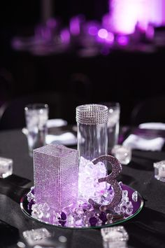 Florida wedding: table decor, lack of flowers, and seating lists all look like they would keep pricing down Mod Wedding, Wedding Table, Dream Wedding, Glitter Wedding, Trendy Wedding, Luxury Wedding, Bling Centerpiece, Bling Wedding Centerpieces, Centrepieces