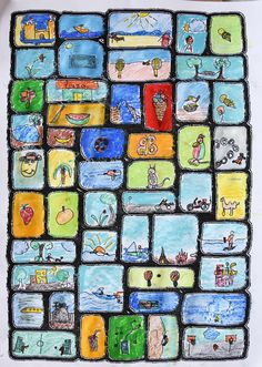 Einen Eisbecher mit Sahne malen, mit Deckfarben und Deckweiß Farben mischen und deckend auftragen,Strand-Collage, Körper und buntes Strandlaken malen