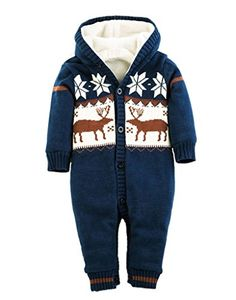 Comhoney Unisex Baby Warm Infant Rompers Snow Deer Jumpsuit Outfits Blue >>> Click on the image for additional details. (This is an affiliate link)