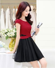 japanese street fashion japanese fashion magazine japan store korean style chinese fashion trendy : Han cultivate morality fair maiden temperament short-sleeved cotton skirt organza dress define aesthetically pleasing face
