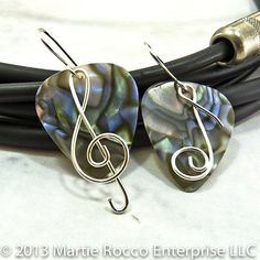 Abalone Guitar Pick Earrings silver wire music symbols. 152GPE | MartieRocco - Jewelry on ArtFire