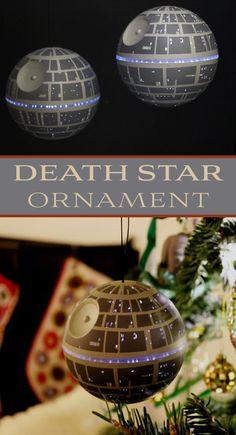 DIY Death Star Ornament with LED lights. #starwars #deathstar #darkside