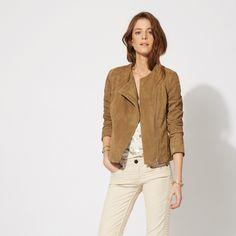 maje KEBBIE Goatskin leather jacket at Maje US