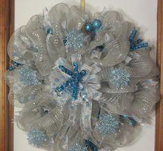 Christmas Snowflake Poly Deco Mesh Wreath by HollySherrysWreaths