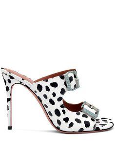 Shop Amina Muaddi Marni 105mm dalmatian print mules with Express Delivery - FARFETCH Marni, Calf Leather, Open Toe, Heeled Mules, Stiletto Heels, Women Wear, Shopping, Shoes, Black