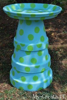 DIY Polka Dot Terra Cotta Bird bath -  http://thegardeningcook.com/diy-polka-dot-terra-cotta-bird-bath/