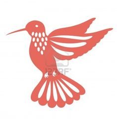 Decorative humming bird illustrated with paper cut style. Stock Photo