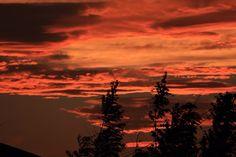 2014-07-13  今日の夕焼け  雨上がりの後、こんなに焼けました♪  色調整等なしです。真っ赤でした!