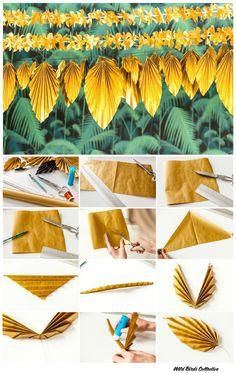New wedding diy paper mariage 19 Ideas Flower Crafts, Diy Flowers, Paper Flowers, Origami Flowers, Tropical Party Decorations, Tropical Decor, Diy Jungle Decorations, Diy Newspaper Decorations, Deco Jungle