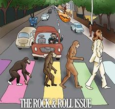 Evolution of rock music culminating in The Beatles Abbey Road, crouching monkey ape to walking ape to The Beatles human standing up evolution chart