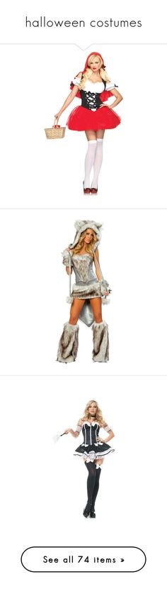 """halloween costumes"" by music-is-life ❤ liked on Polyvore featuring costumes, halloween, fantasia, women's halloween costumes, ladies halloween costumes, lady adult costume, adult costumes, lady halloween costumes, wolf halloween costume and sexy halloween costumes"