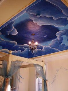 Cloud mural on ceiling by ERJMurals. Would add glow in the dark constellations Ceiling Murals, Wall Murals, Mural Painting, Mural Art, Murals Street Art, Dream Bedroom, Kids Bedroom, Little Girl Rooms, Elegant Homes