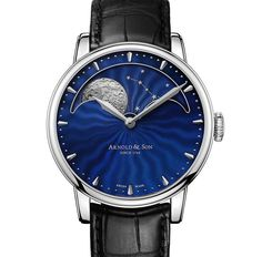 "Arnold & Son HM Perpetual Moon Stainless Steel Watch With Blue Guilloche Dial - by Kenny Yeo - on aBlogtoWatch.com ""Though a young brand, Arnold & Son is responsible for some memorable watches we have seen over the past few years. The wonderful Time Pyramid watch as well as the Arnold & Son HM Perpetual Moon watch come to mind in particular. Now, a new version of the latter in stainless steel with a blue guilloche dial and blue guilloche moon phase disc has been announced..."""
