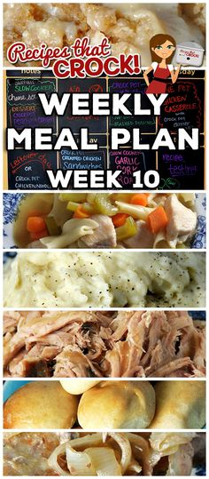 Weekly Meal Plan Week 10 Recipes That Crock! Crock Pot Slow Cooker, Crock Pot Cooking, Slow Cooker Recipes, Crockpot Recipes, Cooking Recipes, Make Ahead Meals, Easy Meals, Meals For The Week, Creamed Chicken