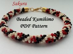 Beaded kumihimo PDF pattern bracelet Sakura tutorial beaded