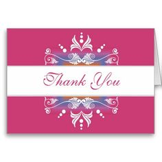 Designer Thank You Cards to express your appreciation elegantly.An elegant flourishes design frames your thank you note in this trendy card....
