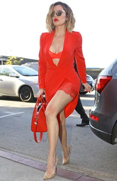 Revenge Body host Khloé Kardashian stepped out in a sexy red lingerie-inspired outfit this week.