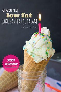 Creamy {low fat} Cake Batter Ice Cream