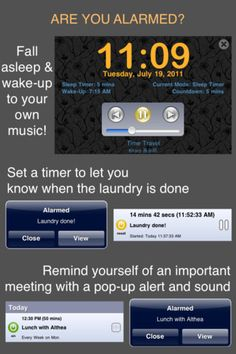 Alarmed ~ Reminders, Timers, Alarm Clock ($0.00) From Apps For Blind & Visually Impaired http://appadvice.com/applists/show/apps-for-the-visually-impaired It is important to be organized when visually impaired. Unfortunately, many of the organizational apps are not VoiceOver friendly. We tested out Alarmed ~ Reminders, Timers, Alarm Clock. We found that it is a very user friendly app and is fully accessible with VoiceOver.