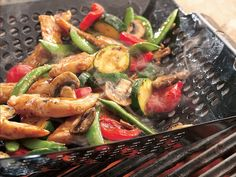 Grilled Chicken Citrus Teriyaki Stir-frying on the grill adds a smoky flavor to this chicken and veggie dinner that's complemented with a citrusy marinade- ready in 55 mins. Healthy Grilling, Grilling Recipes, Cooking Recipes, Grilling Ideas, Barbecue Recipes, What's Cooking, Healthy Dinner Recipes, Low Carb Recipes, Skinny Recipes