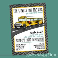 This is a listing for the Bus Birthday Party Invitations! I will send you the purchased 5x7 digital file (300 dpi JPEG) for you to print