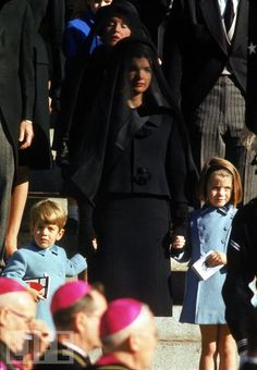 Jackie Kennedy and her children during funeral of President Kennedy