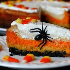 Candy Corn Cheesecake -- The spider makes it creepy, but the word Cheesecake . . . drool . . .