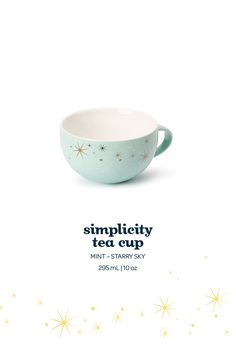 Simplicity Tea Cup - We're in love with this dreamy peppermint and gold-starred porcelain tea cup.
