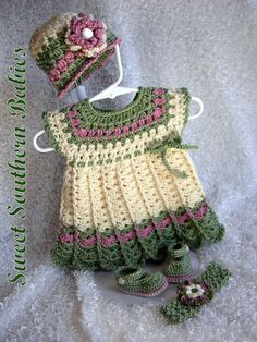 Baby Girls Dress with Hat Headband and by SweetSouthernBabies, $62.50
