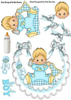 Cute baby boy with his blanket on lace bib on Craftsuprint - Add To Basket!