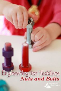 The latest installment in our Architecture and Engineering for Kids series targeted my toddler - who has shown as much interest and enthusiasm in our engineering and construction challenges as my preschooler. This Nuts and Bolts Busy Box tested her color identification, matching and fine motor skills, while also introducing her to simple machines! | STEM | STEAM | Toddlers | Busy Box | Engineering for Kids |